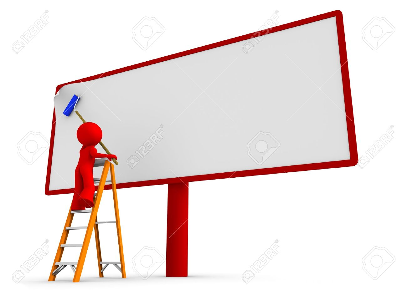 9198419-Hombre-de-pie-en-una-escalera-poner-un-cartel-en-blanco-nuevo-a-una-cartelera-Trazado-de-recorte-cor-Foto-de-archivo